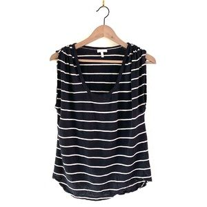 Joie Women Linen Tee Top Striped Gathered Shoulder